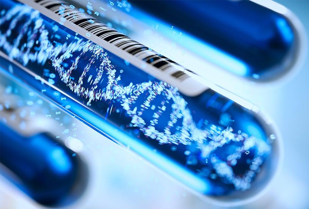 Test tubes overlain with a photoillustration of DNA strand
