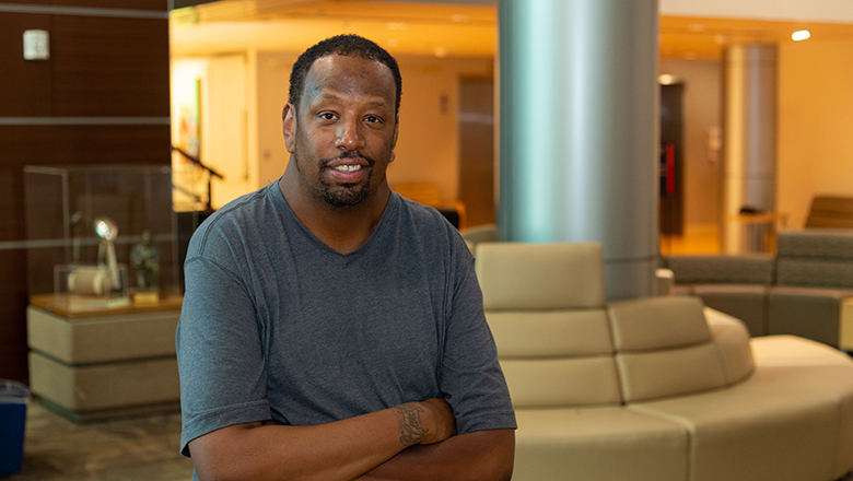 Salih Williams stands in the lobby of Georgetown Lombardi