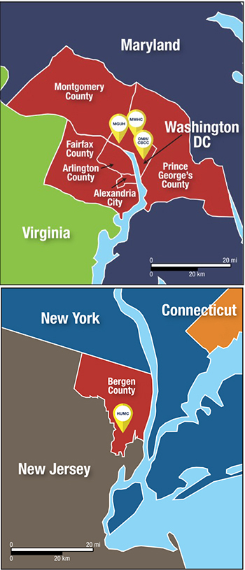 A map illustrating Georgetown Lombardi's catchment areas in D.C. and New Jersey