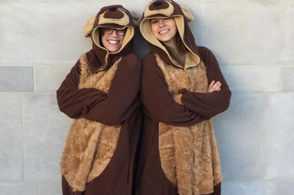 Faculty Director, Julia Langley and Program Manager, Morgan Kulesza, dressed up in bear costumes
