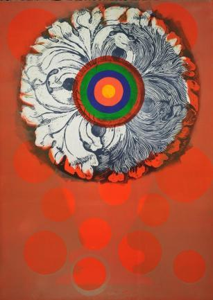 "Susan Goldman's print called ""Target Bloom"""