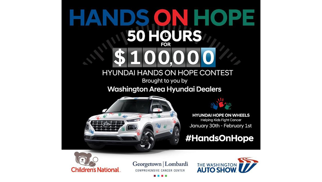 "Hands on Hope summary graphic says ""Hands on Hope, 50 Hours, $100,000"""