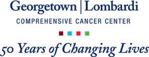 Georgetown Lombardi logo for 50th anniversary with tagline 50 Years of Changing Lives