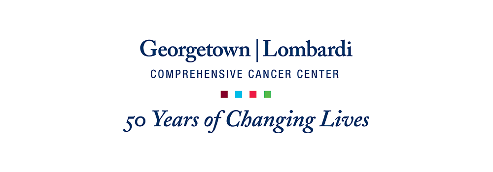 Georgetown Lombardi Comprehensive Cancer Center logo with tagline reading 50 years of changing lives