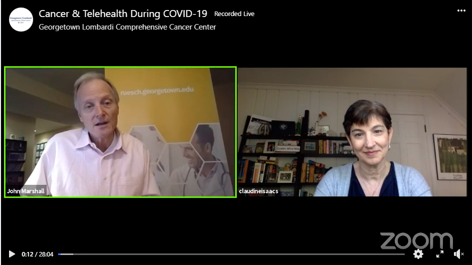 Screenshot of Facebook Live event titled Cancer & Telehealth During COVID-19