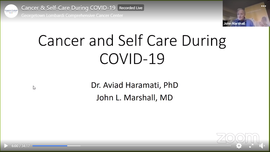 Screenshot of Facebook Live presentation titled Cancer and Self-Care During COVID-19