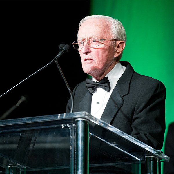 Dr. Potter speaks at a lectern during the Lombardi Gala in 2010