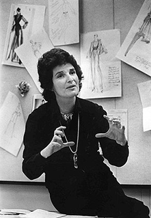 Nina Hyde as a younger woman with fashion sketches