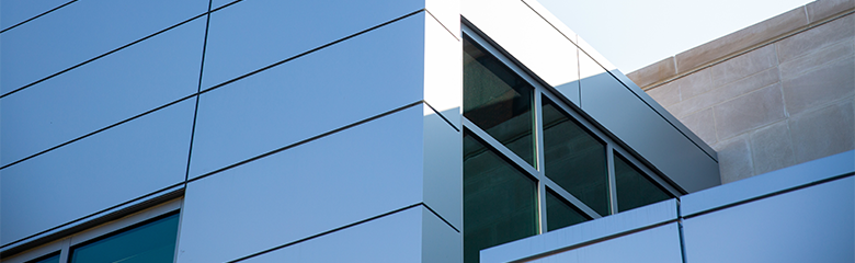 A detail of the exterior of Georgetown Lombardi Comprehensive Cancer Center